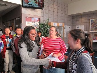 ラトガース校との学校間交流で、ペアの生徒との初対面。